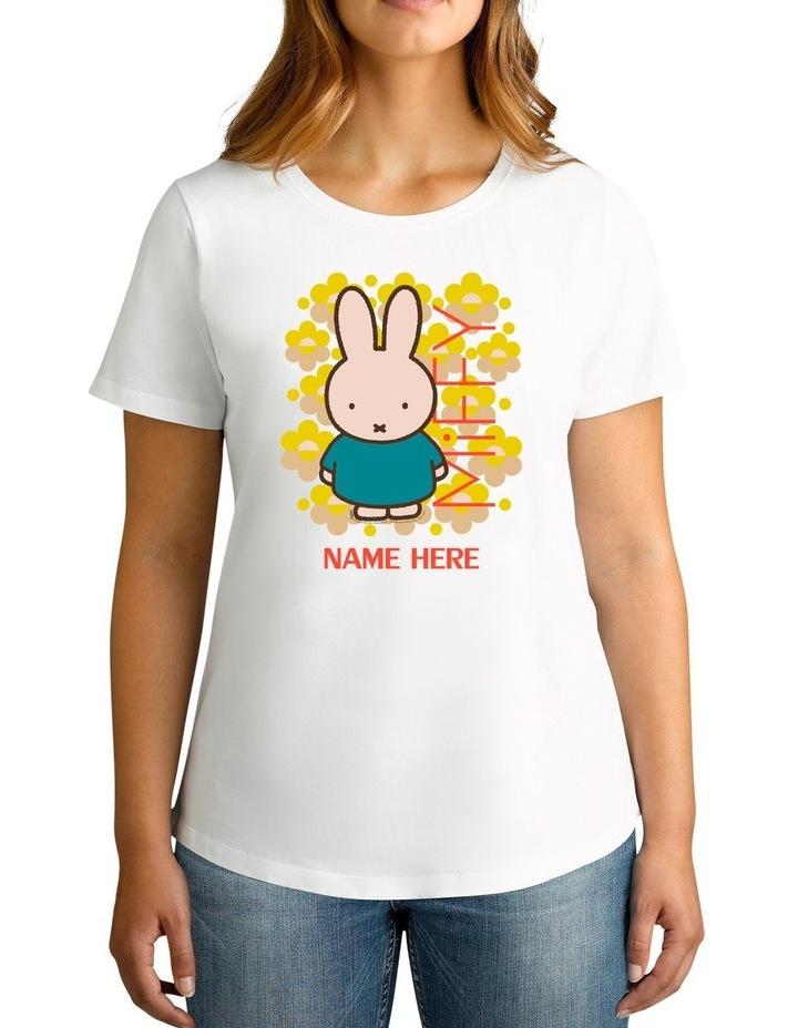 Women's Miffy Fluro Flowers Personalised Cotton T-Shirt image 1