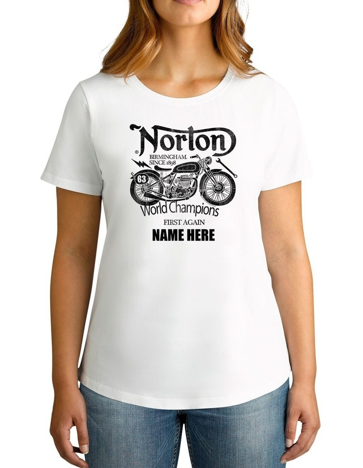 Women's Norton World Champions Personalised Cotton T-Shirt image 1