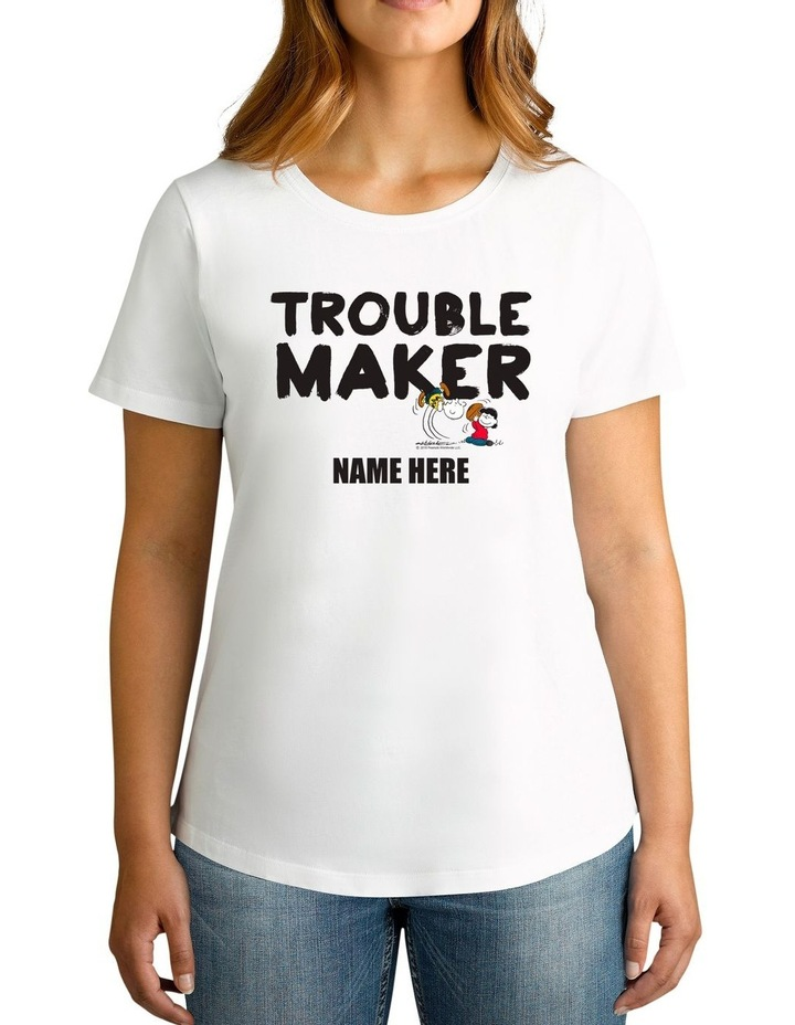 Women's Peanuts Trouble Maker Personalised Cotton T-Shirt image 1