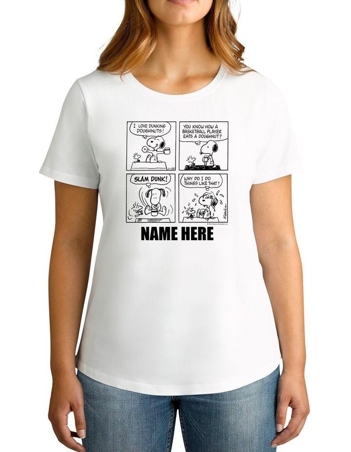 Women's Peanuts Cartoon Snoopy Personalised Cotton T-Shirt image 1