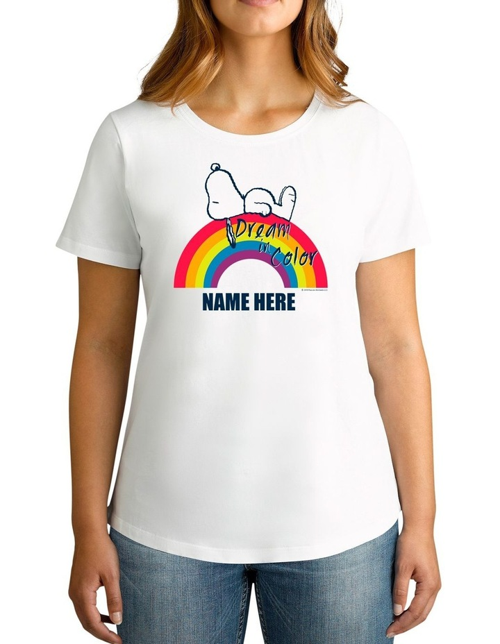 Women's Peanuts Dream In Colour Personalised Cotton T-Shirt image 1