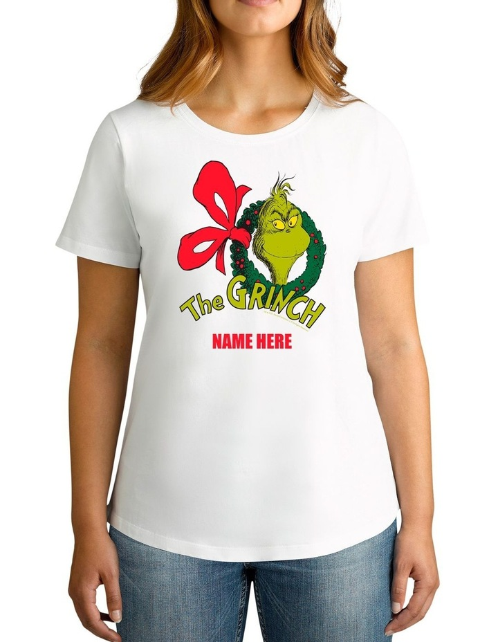 Women's Dr.Seuss The Grinch Xmas Personalised Cotton T-Shirt image 1