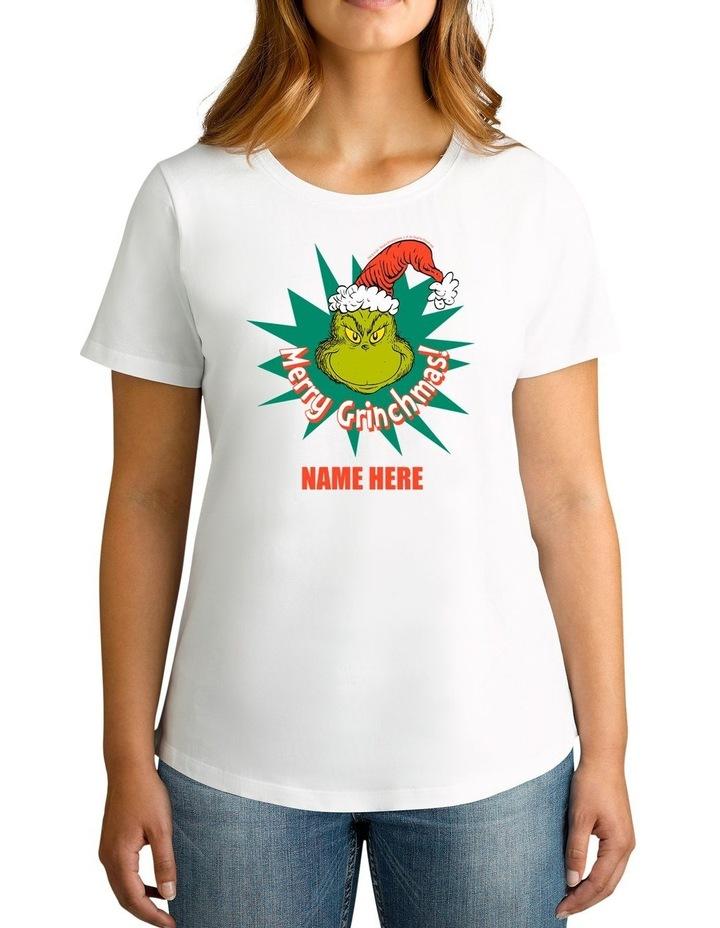 Women's Dr.Seuss Merry Grinchmas Personalised Cotton T-Shirt image 1