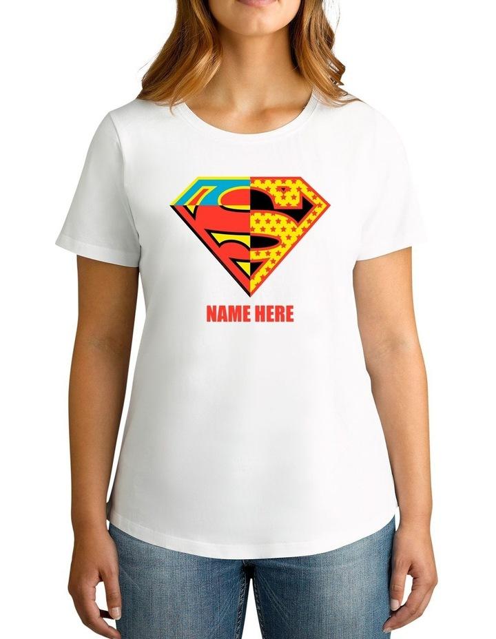 Twidla Women's DC Superman Contrast Colour Logo Personalised Cotton T-Shirt image 1