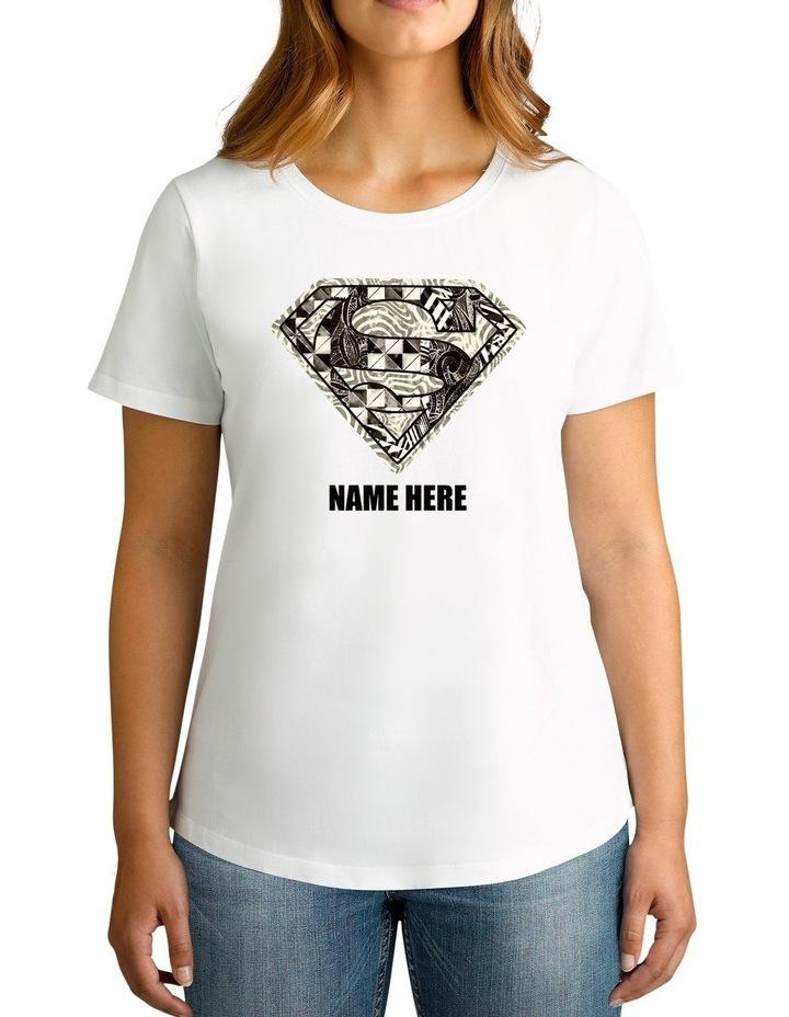Women's DC Superman Monochrome Logo Personalised Cotton T-Shirt image 1
