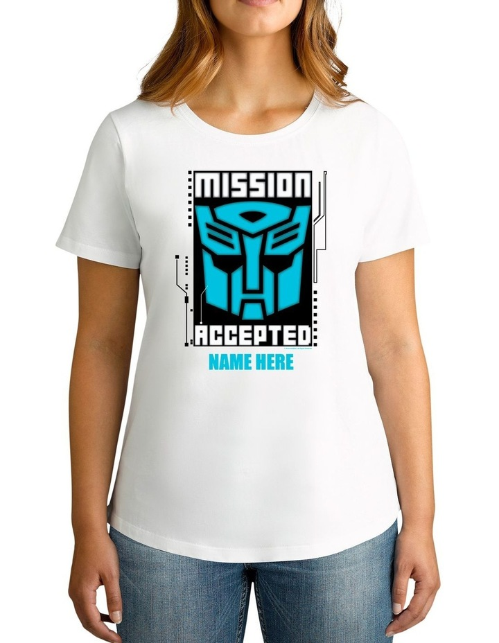 Women's Transformers Mission Accepted Personalised Cotton T-Shirt image 1