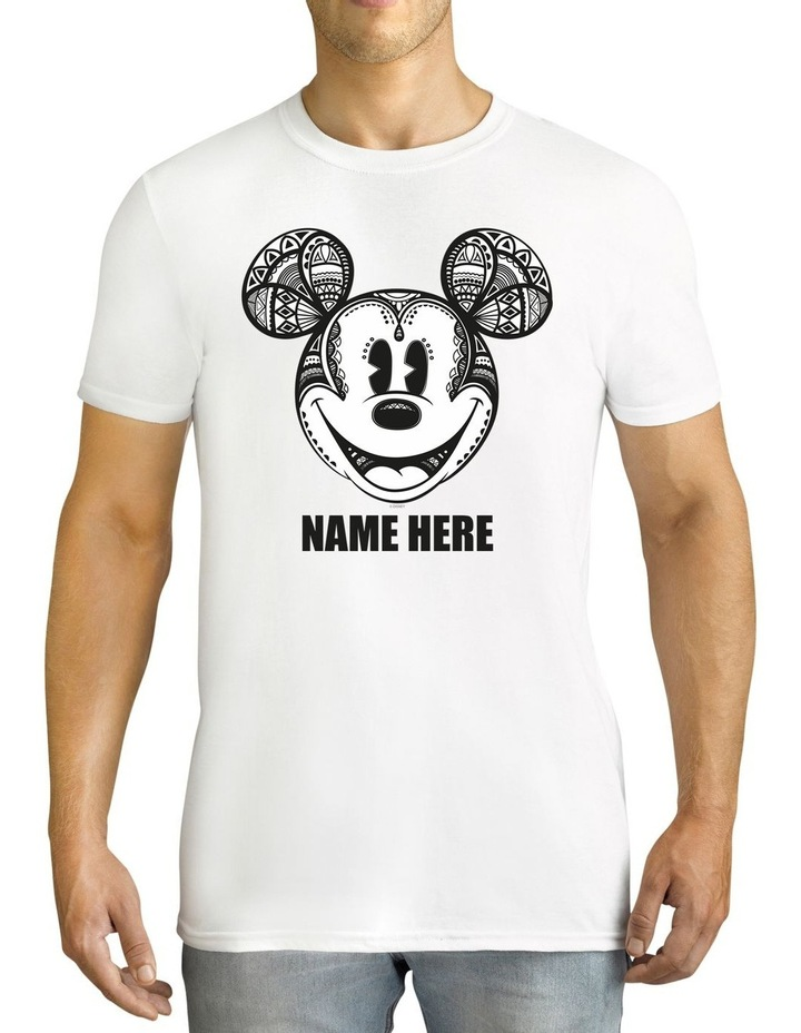 Men's Disney Mickey Mouse Geo Personalised Cotton T-Shirt image 1