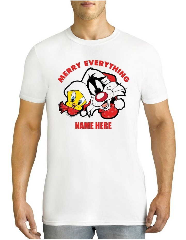 Men's Looney Tunes Merry Everything Xmas Personalised Cotton T-Shirt image 1