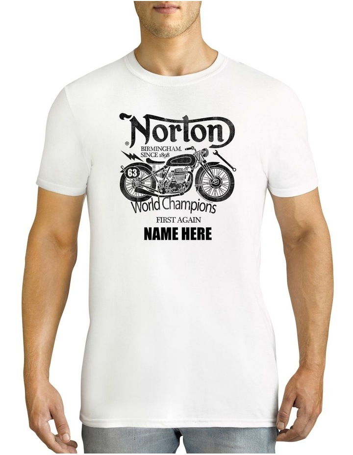 Men's Norton World Champions Personalised Cotton T-Shirt image 1
