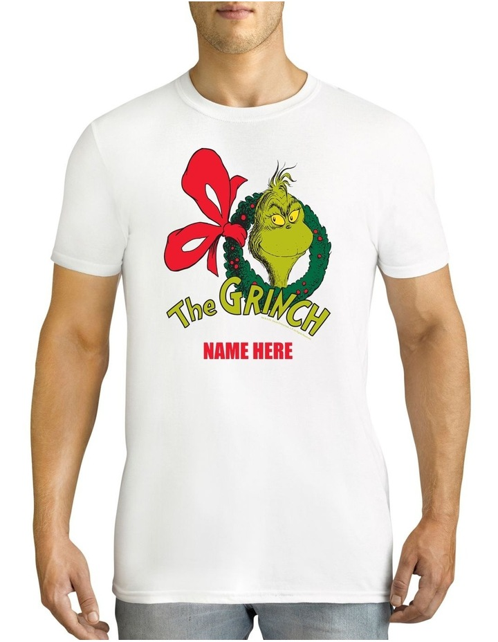 Men's Dr.Seuss The Grinch Xmas Personalised Cotton T-Shirt image 1