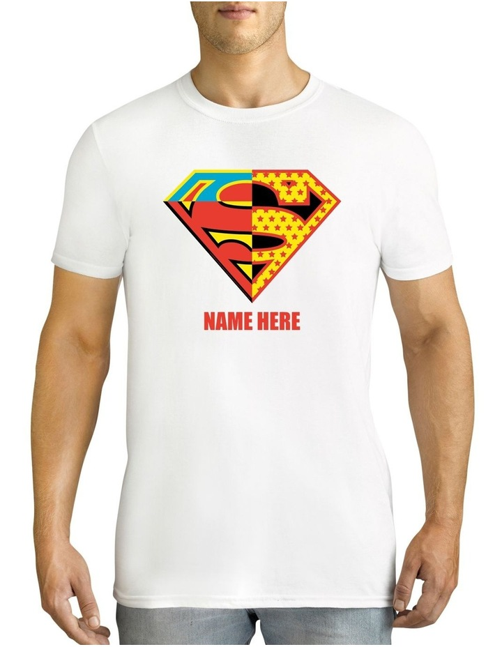 Men's DC Superman Contrast Logo Personalised Cotton T-Shirt image 1