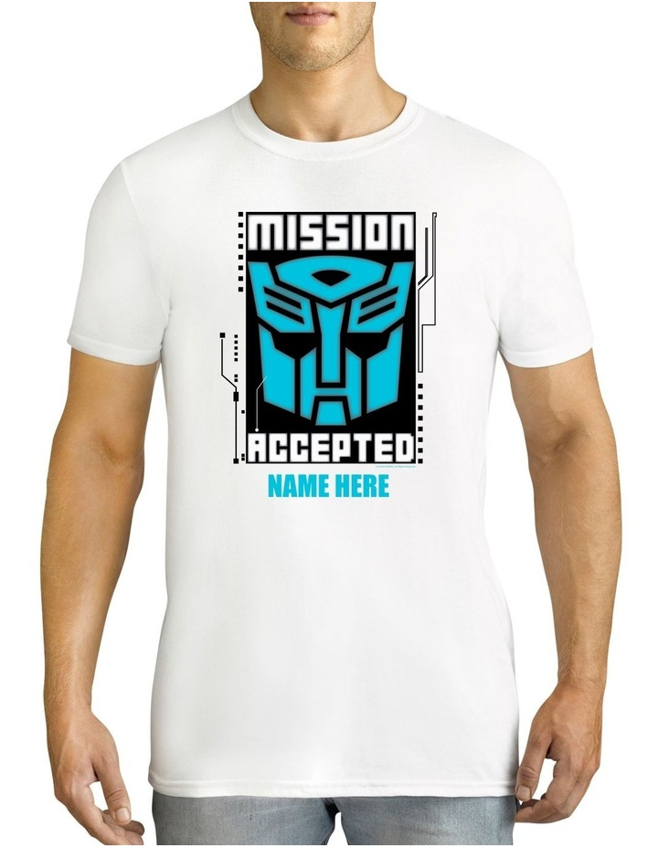 Men's Transformers Mission Accepted Personalised Cotton T-Shirt image 1