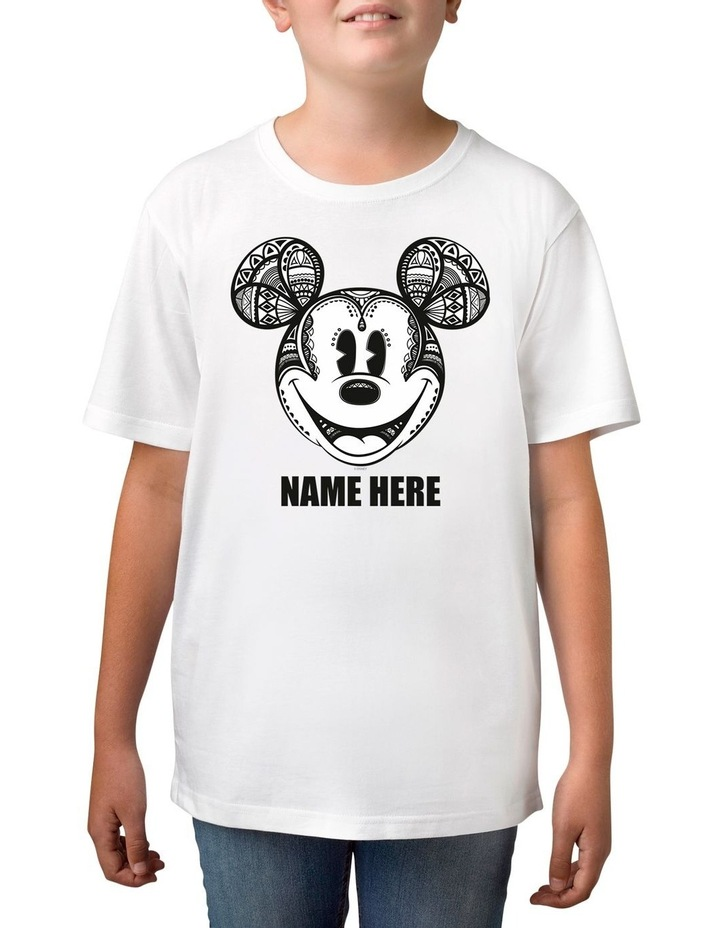 Boy's Disney Mickey Mouse Geo Personalised Cotton T-Shirt image 1