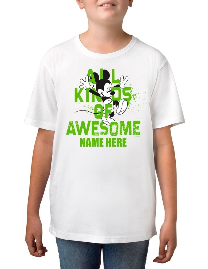 Boy's Disney Mickey Mouse All Kinds of Awesome Personalised Cotton T-Shirt image 1