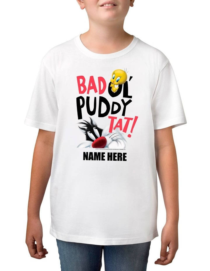 Boy's Looney Tunes Tweety & Sylvester Puddy Tat Personalised Cotton T-Shirt image 1