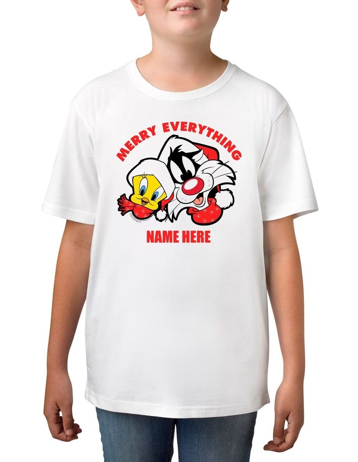 Boys Looney Tunes Merry Everything Personalised Cotton T-Shirt image 1