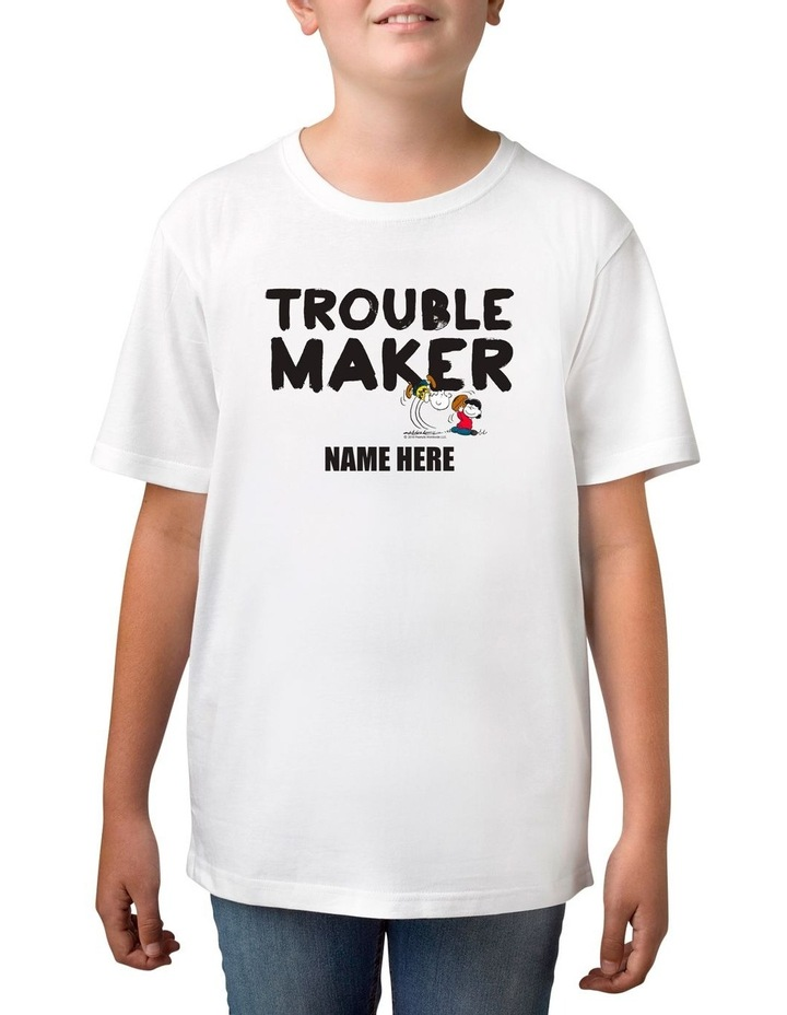 Boy's Peanuts Trouble Maker Personalised Cotton T-Shirt image 1