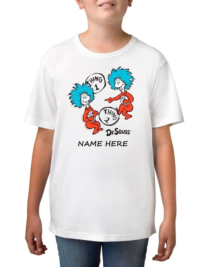 Boy's Dr Seuss 2 Things Personalised Cotton T-Shirt image 1