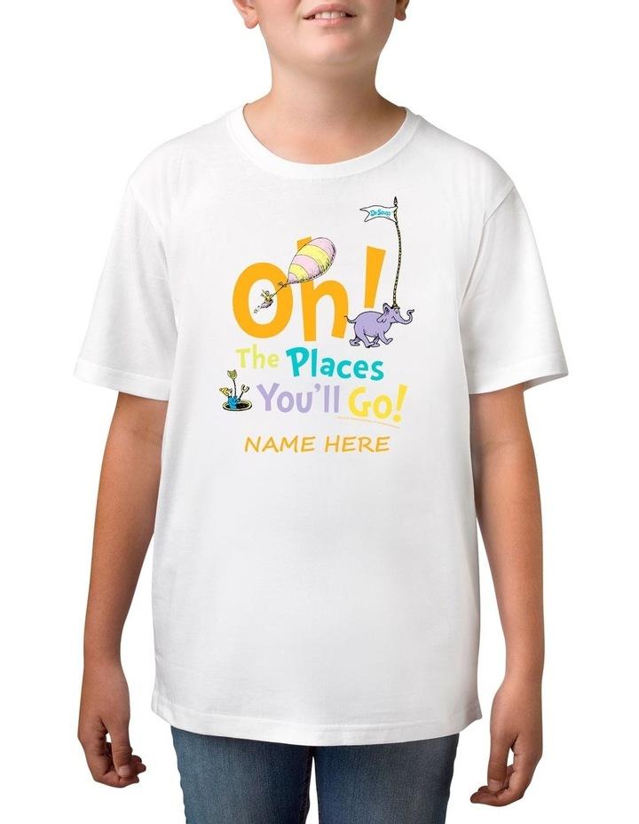 Boy's Dr Seuss Places You'll Go Personalised Cotton T-Shirt image 1