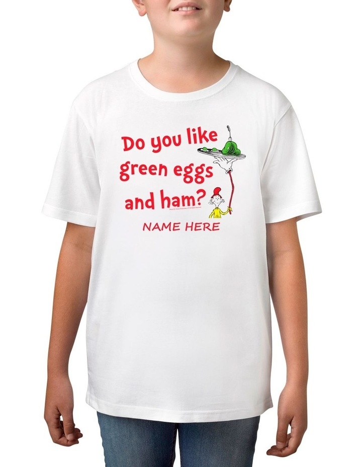 Boy's Dr Seuss Green Eggs & Ham Personalised Cotton T-Shirt image 1