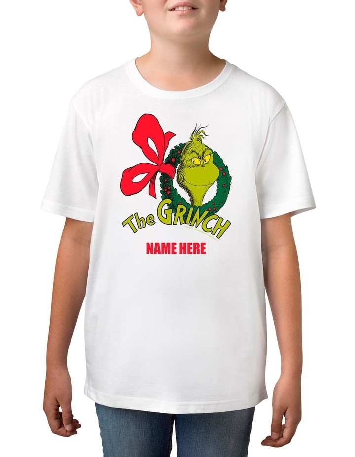 Boy's Dr Seuss The Grinch Xmas Personalised Cotton T-Shirt image 1