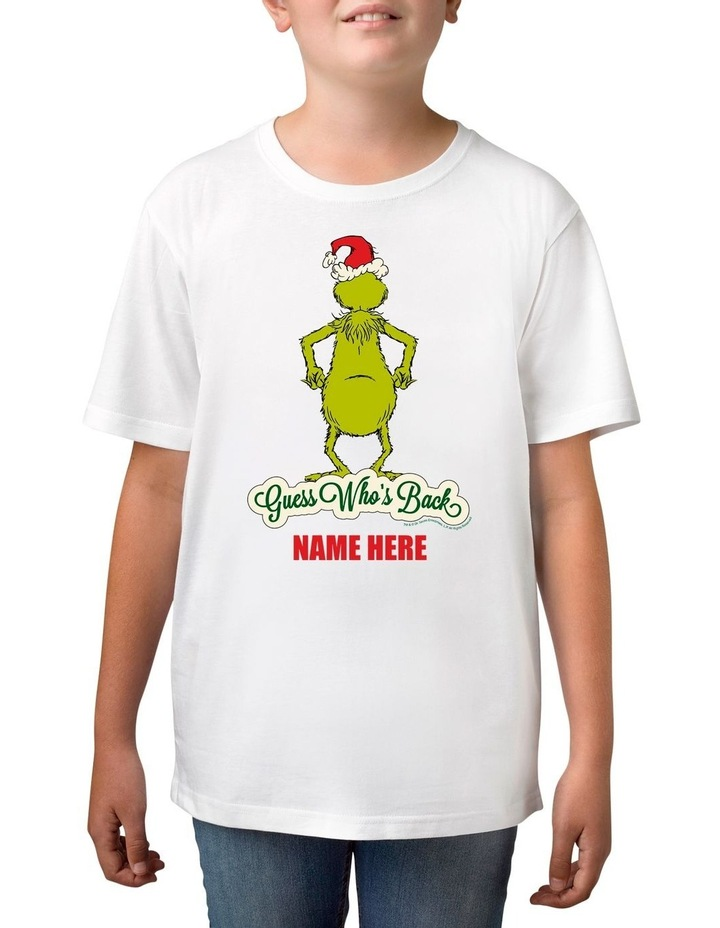 Boy's Dr Seuss Guess Who's Back Xmas Personalised Cotton T-Shirt image 1