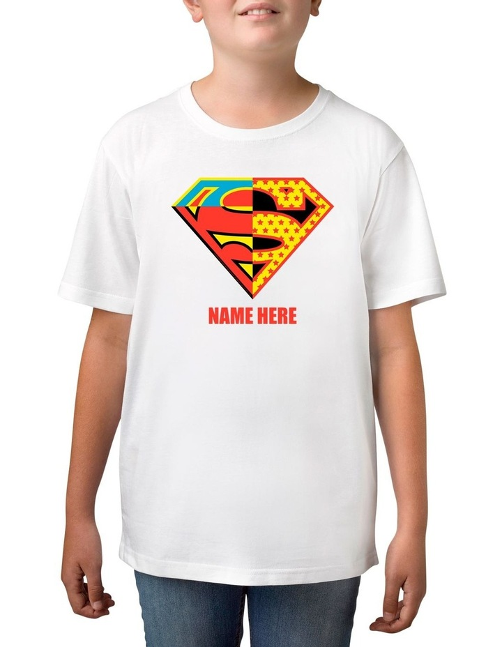 Boy's DC Superman Contrast Logo Personalised Cotton T-Shirt image 1