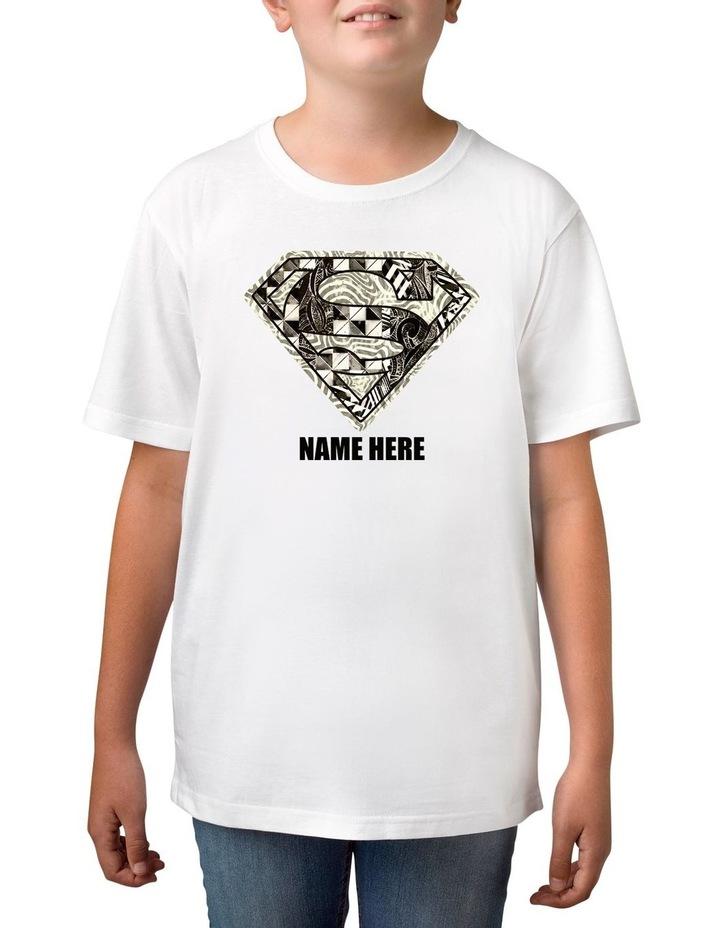 Boy's DC Superman Monochrome Logo Personalised Cotton T-Shirt image 1