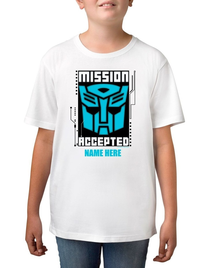 Boy's Transformers Mission Accepted Personalised Cotton T-Shirt image 1