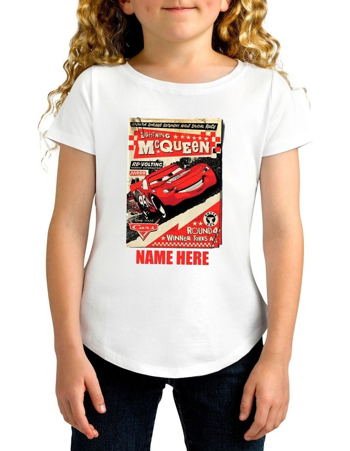 6081fc58f Twidla Girl's Disney Cars Lightning McQueen Round Four Winner Takes All  Personalised Cotton T-Shirt