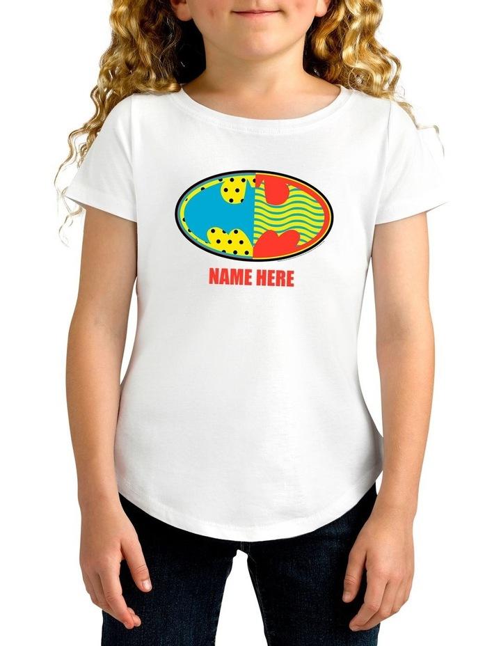 Girl's DC Batman Logo Personalised Cotton T-Shirt image 1