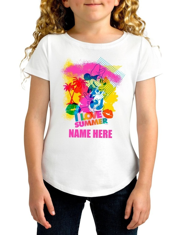 Girl's Disney Minnie Mouse I Love Summer Personalised Cotton T-Shirt image 1