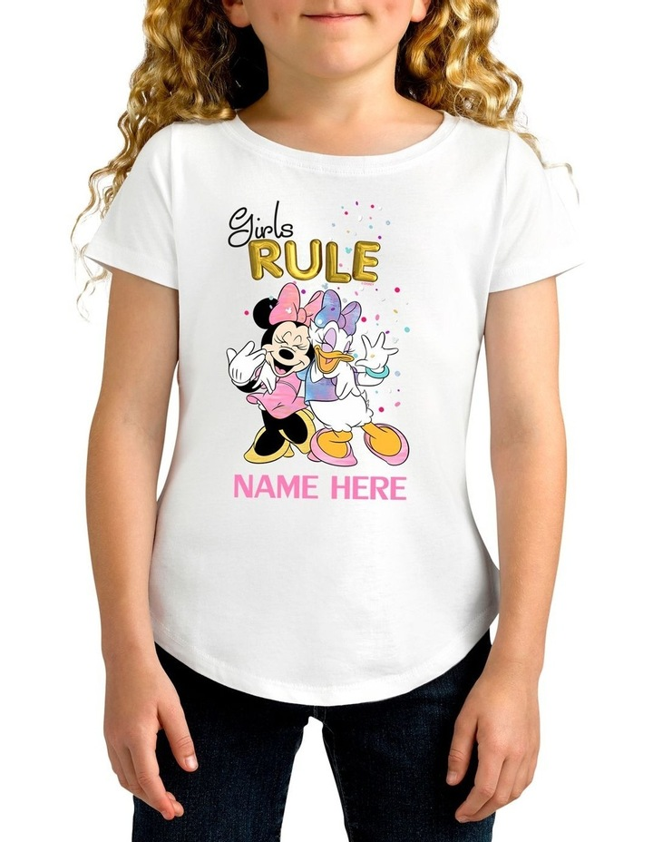 Girl's Disney Minnie Mouse Girls Rule Personalised Cotton T-Shirt image 1