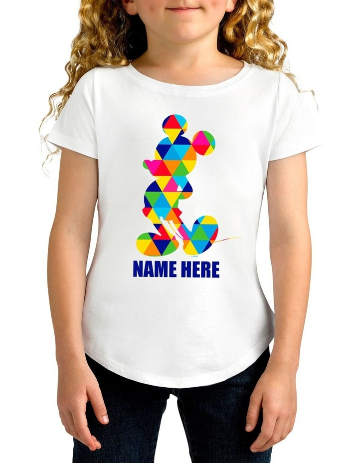 Girl's Disney Mickey Mouse Triangle Personalised Cotton T-Shirt image 1