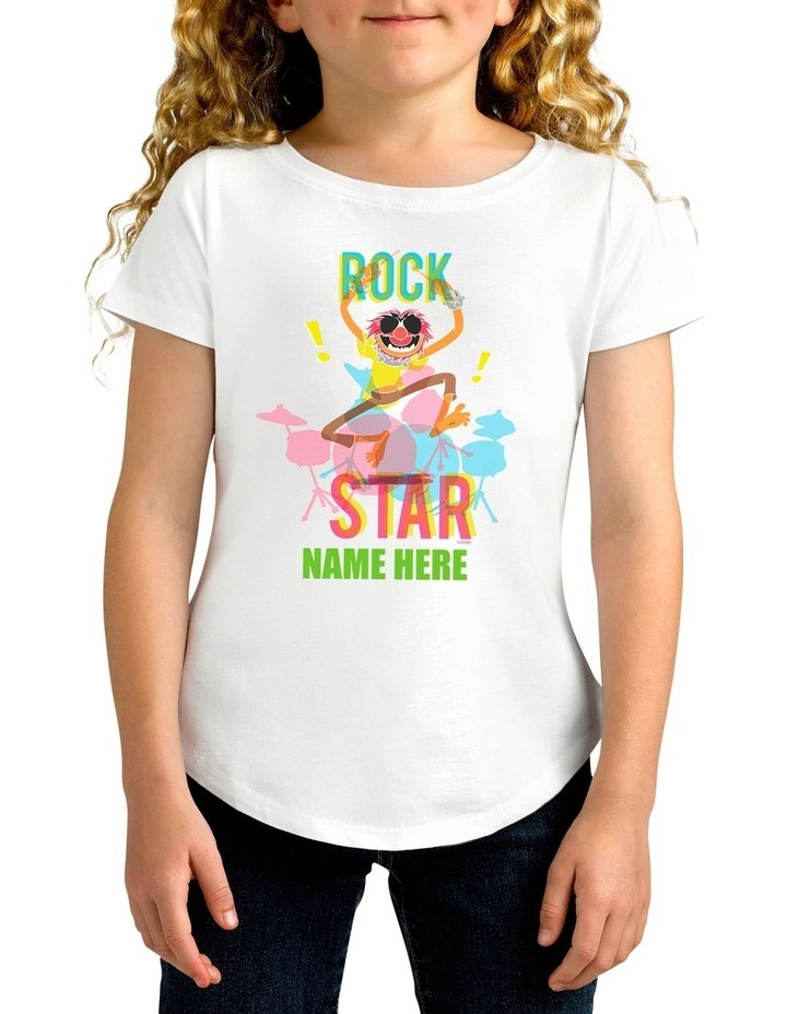 Girl's Disney The Muppets Animal Rock Star Personalised Cotton T-Shirt image 1