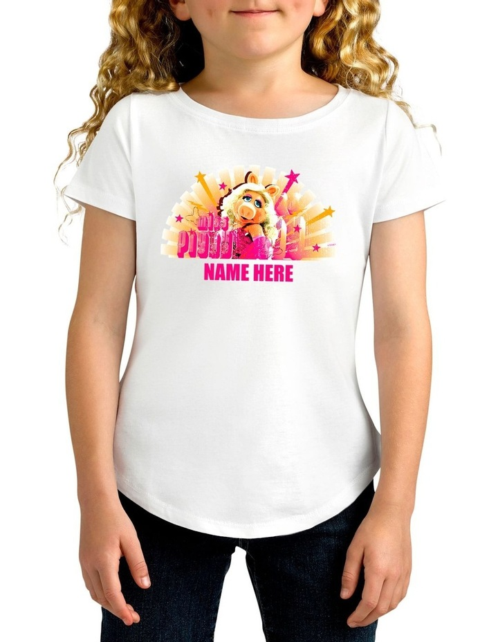 Girl's Disney The Muppets Miss Piggy Personalised Cotton T-Shirt image 1