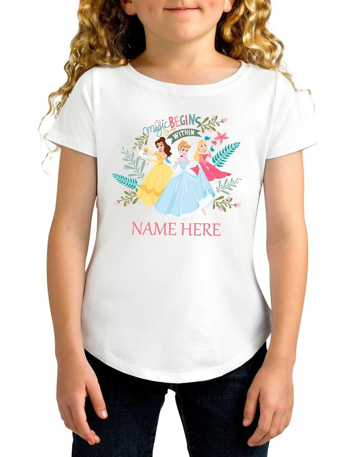 Girl's Disney Princess Magic Personalised Cotton T-Shirt image 1
