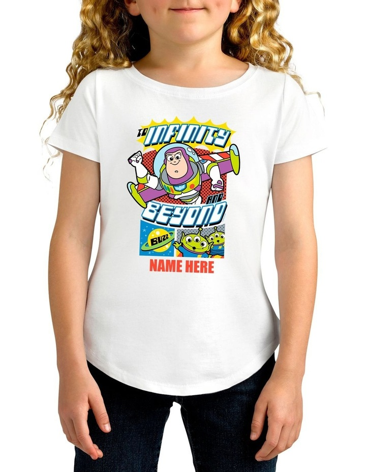 Girl's Disney Toy Story Buzz Personalised Cotton T-Shirt image 1