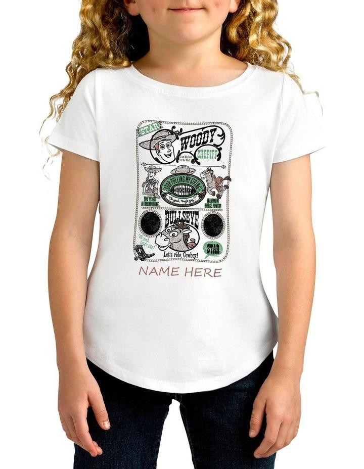 Girl's Disney Toy Story Woody Sheriff Personalised Cotton T-Shirt image 1