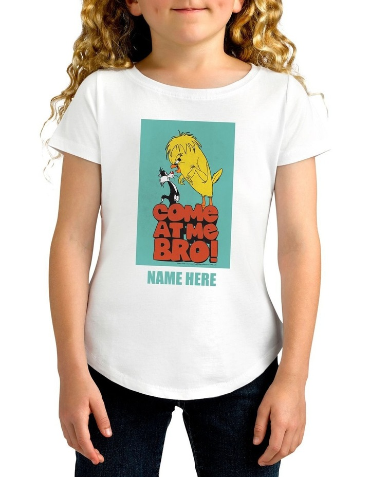 Girl's Looney Tunes Tweety Bro Personalised Cotton T-Shirt image 1