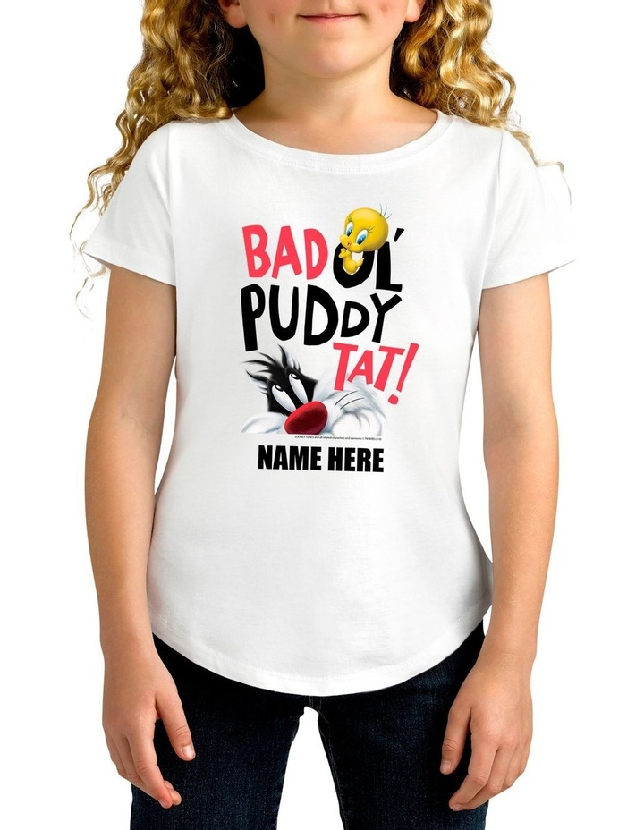 Girl's Looney Tunes Tweety & Sylvester Bad Puddy Tat Personalised Cotton T-Shirt image 1