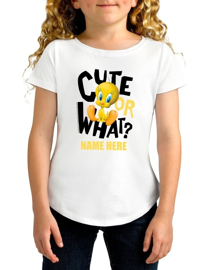 Girl's Looney Tunes Cute or What Personalised Cotton T-Shirt image 1