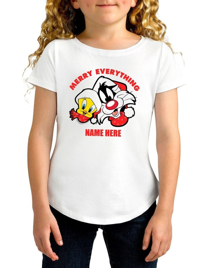 Girl's Looney Tunes Merry Everything Xmas Personalised Cotton T-Shirt image 1