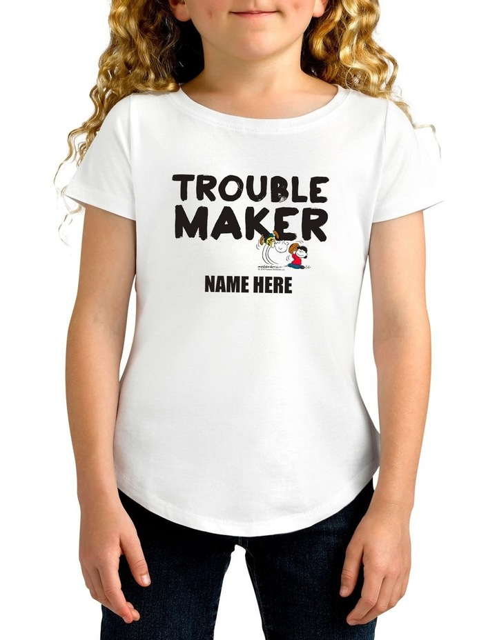 Twidla Girl's Peanuts Trouble Maker Personalised Cotton T-Shirt image 1