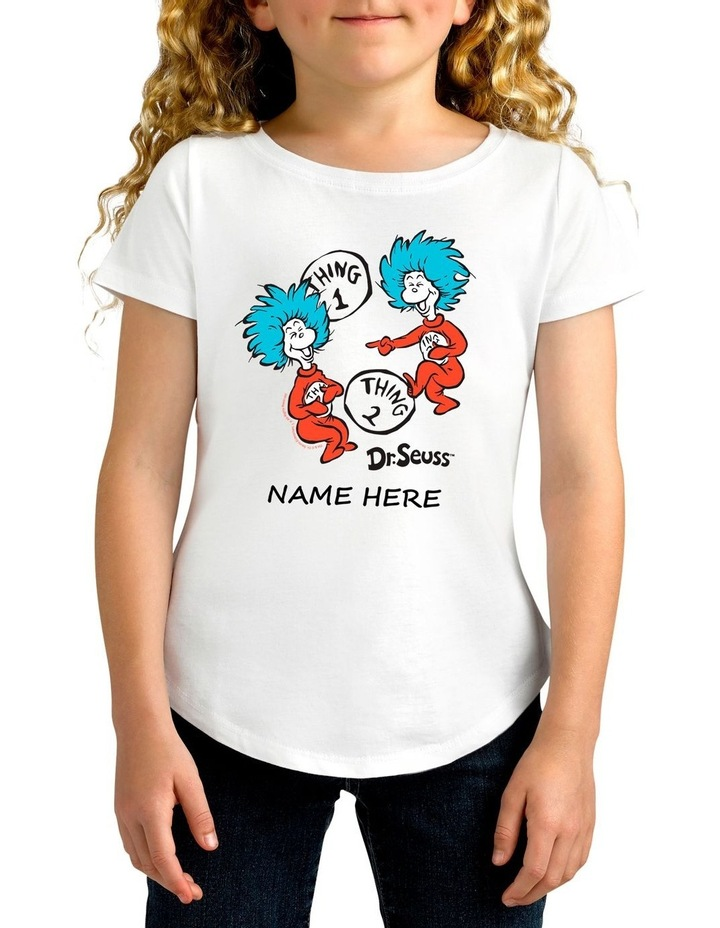 Girl's Dr.Seuss 2 Things Personalised Cotton T-Shirt image 1
