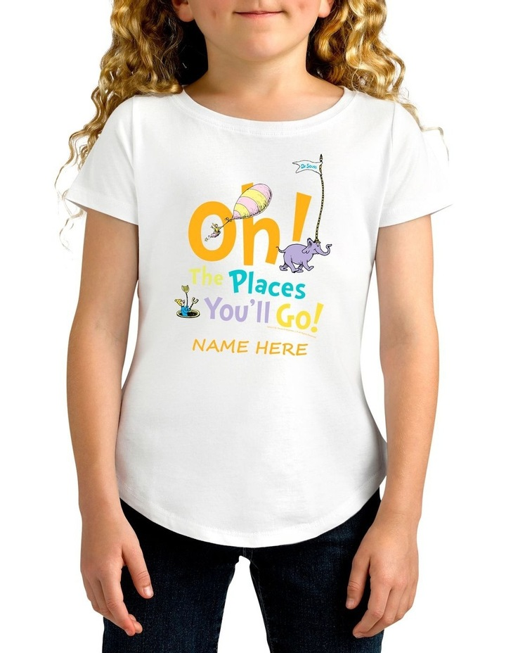 Girl's Dr.Seuss Places You'll Go Personalised Cotton T-Shirt image 1