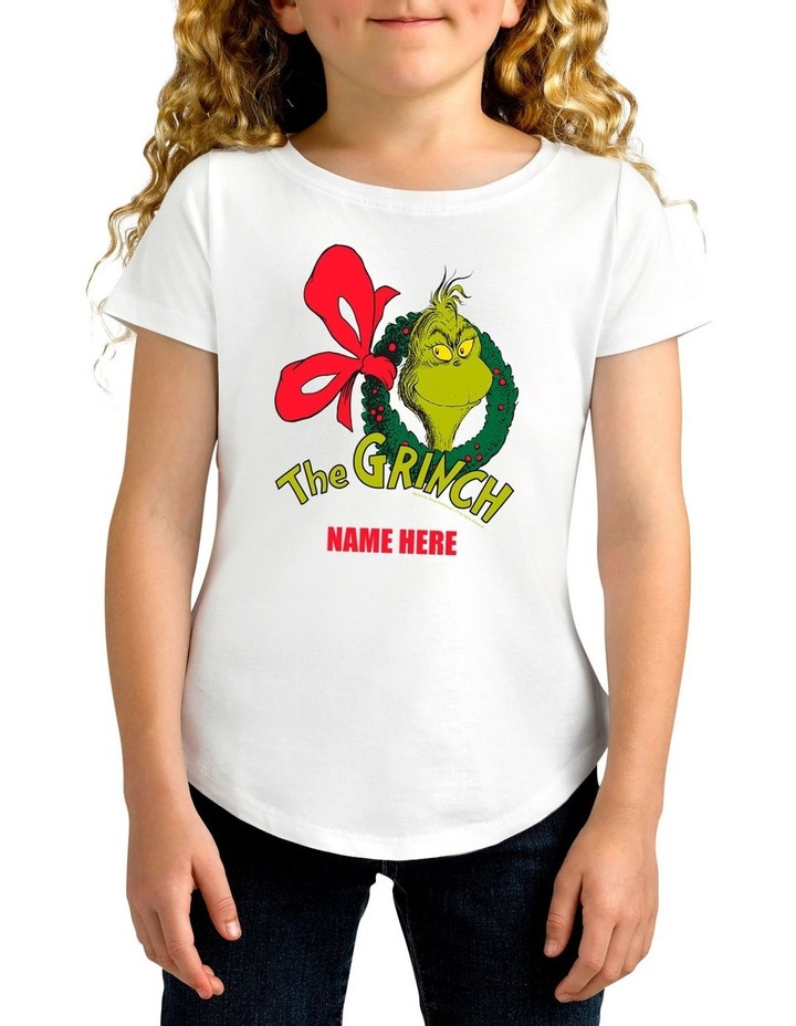 Girl's Dr.Seuss The Grinch Xmas Personalised Cotton T-Shirt image 1