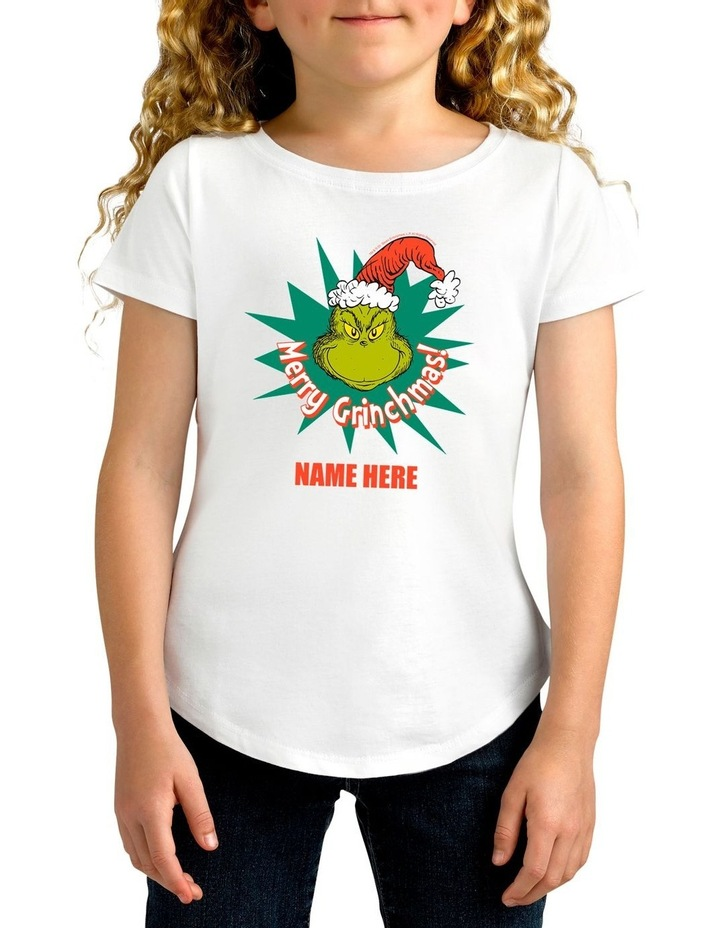 Girl's Dr.Seuss Merry Grinchmas Personalised Cotton T-Shirt image 1