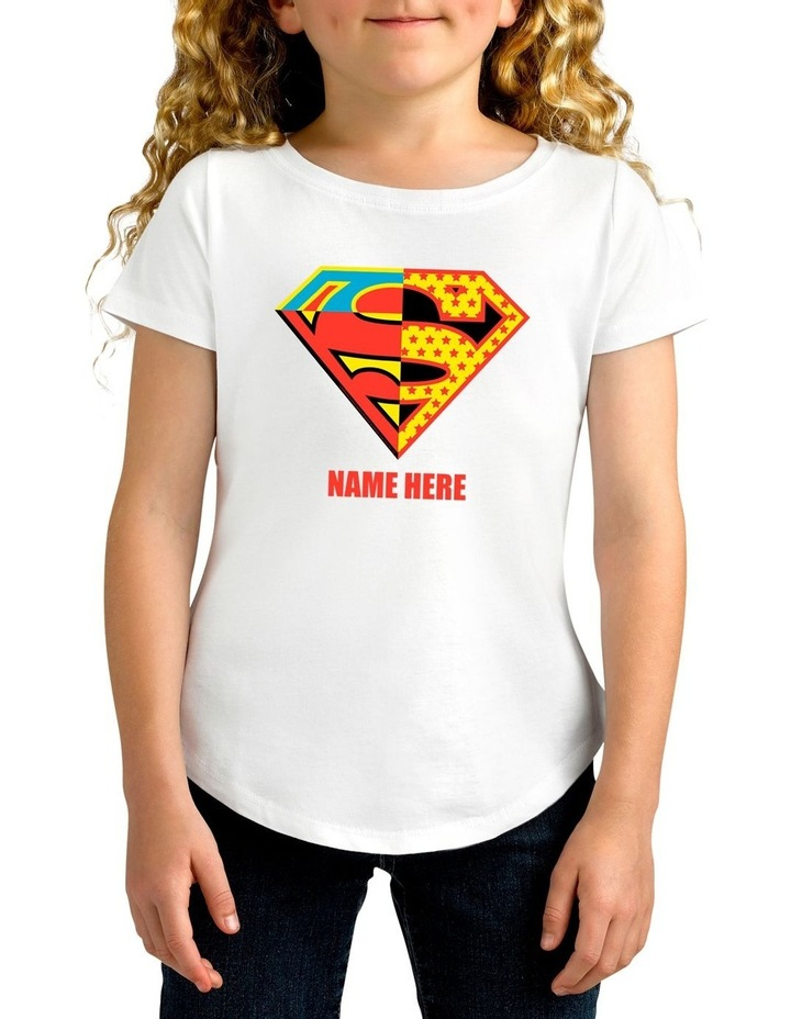 Girl's DC Superman Contrast Colour Logo Personalised Cotton T-Shirt image 1