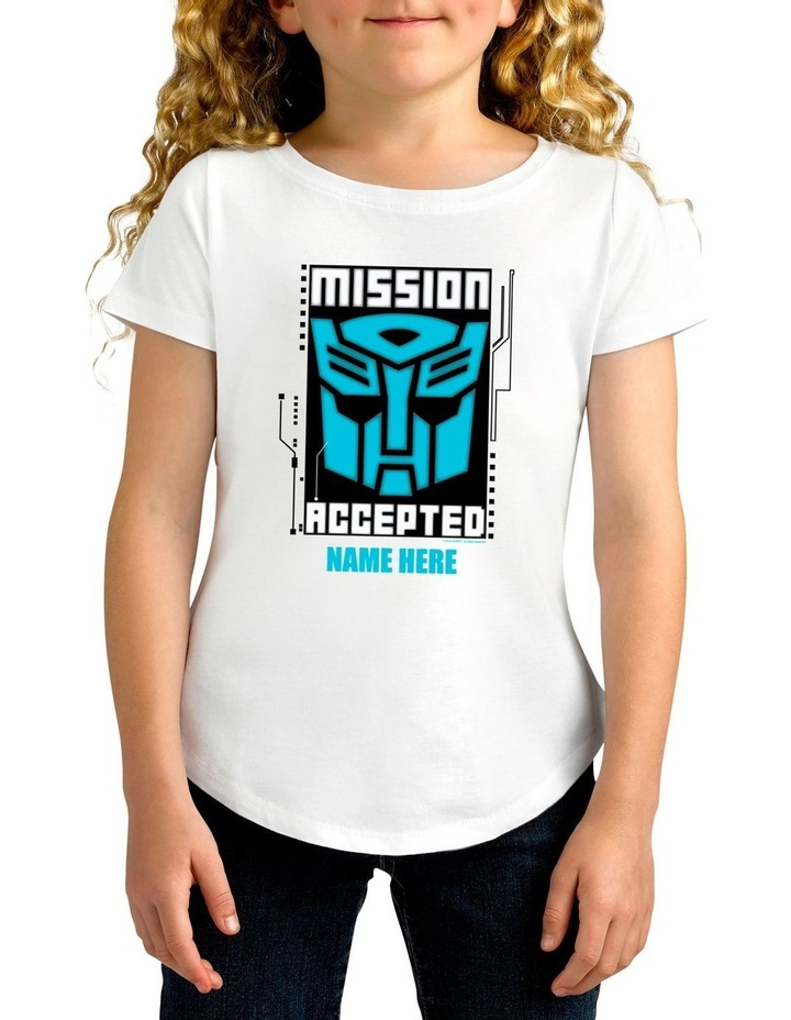 Girl's Transformers Mission Accepted Personalised Cotton T-Shirt image 1
